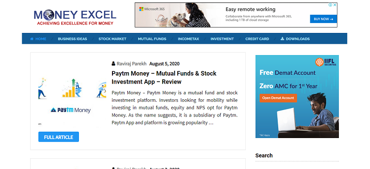 Money Excel Financial blog